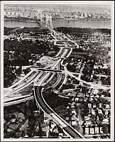 0163773 © Granger - Historical Picture ArchiveGEORGE WASHINGTON BRIDGE.   Aerial view of the George Washington Bridge from the New Jersey side, 1944.