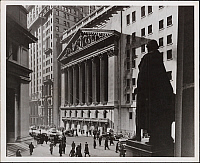 0163777 © Granger - Historical Picture ArchiveNEW YORK: STOCK EXCHANGE.   Exterior of the New York Stock Exchange on Broad Street in Lower Manhattan, New York City, as seen from the steps of the Sub-Treasury Building. Photograph, 1944.