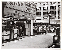 0163781 © Granger - Historical Picture ArchiveNEW YORK: FOOD STAND, 1944.   Corner refreshment stand (Papaya Drinks).