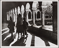 0163795 © Granger - Historical Picture ArchiveNEW YORK: CLOISTERS, 1944.   Visitors at the Cloisters museum in Fort Tryon Park, New York City. Photograph, 1944.