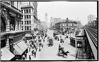 0163811 © Granger - Historical Picture ArchiveNEW YORK: HERALD SQUARE.   Herald Square in New York City with pedestrians, horsedrawn carriages, and trolleys. Photograph, c1900.