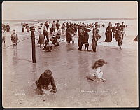 0163871 © Granger - Historical Picture ArchiveNEW JERSEY: BEACH, 1897.   Children playing at the beach in Sea Girt, New Jersey. Photograph, 1897.