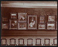 0163882 © Granger - Historical Picture ArchiveNEW YORK: ART AUCTION.   Paintings hanging on a wall, presumably for sale by Edward Brandus at James P. Silo's auction room, 1905.