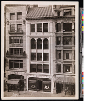 0163893 © Granger - Historical Picture ArchiveNEW YORK: FIFTH AVENUE.   570, 572 and 574 Fifth Avenue. Buisnesses include Budd Clothing Co., Udall & Ballou Jewelers, Pach Bros. Photo Studio and La Mode Model Co. Photograph, c1915.