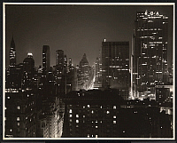 0163902 © Granger - Historical Picture ArchiveNEW YORK: RCA BUILDING.   The RCA Building and Rockefeller Center in the New York City skyline at night. The Chrysler Building is on the far left. Photograph, c1935.