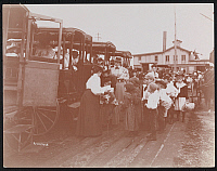 0163950 © Granger - Historical Picture ArchiveNEW YORK: FIELD TRIP.   Children boarding carriages at an excursion of the Christian Herald Children's Home in Nyack, New York. Photograph, c1896.