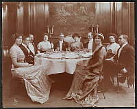 0163975 © Granger - Historical Picture ArchiveDINNER, c1911.   Five men and five women seated, formally dressed, at a table at a dinner given to Arnold Bennett, English novelist and dramatist, at Harper Brothers, c1911.