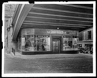 0164065 © Granger - Historical Picture ArchiveSHEFFIELD MILK BAR.   Exterior of the Sheffield Farms Milk Bar at the New York City Information Center on East 41st Street and Park Avenue, New York City. Photograph, 16 December 1936.