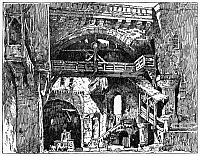 0268545 © Granger - Historical Picture ArchiveOPERA: PARSIFAL, 1882.   Stage set for Act II Scene 1 of Richard Wagner's opera, 'Parsifal.' Engraving, American, 1882.