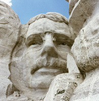 0408701 © Granger - Historical Picture ArchiveMOUNT RUSHMORE, c1970.   Close up of President Theodore Roosevelt on the Mount Rushmore National Memorial in South Dakota. Photograph, c1970.
