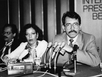 0526477 © Granger - Historical Picture ArchiveDANIEL ORTEGA (1945- ).  Nicaraguan revolutionary and politician. Photographed with his wife Rosario Murillo at a press conference, September 1986. Full credit: Sven Simon - Ullstein Bild  / Granger, NYC.