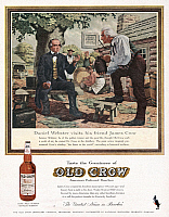 0267515 © Granger - Historical Picture ArchiveAD: OLD CROW, c1950.   American advertisement for Old Crow whiskey featuring Daniel Webster visiting distiller James Crow.