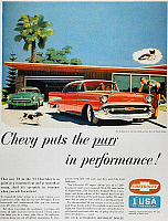 0007127 © Granger - Historical Picture ArchiveCHEVROLET AD, 1957.   Chevrolet automobile advertisement from an American magazine, 1957.