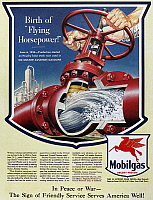 0118934 © Granger - Historical Picture ArchiveMOBIL ADVERTISEMENT, 1943.   American advertisement for Mobilgas gasoline, 1943.