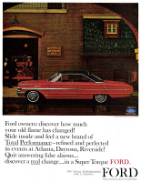 0433423 © Granger - Historical Picture ArchiveAD: FORD, 1963.   American advertisement for Ford. Illustration, 1963.