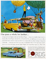 0433882 © Granger - Historical Picture ArchiveAD: FORD, 1959.   American advertisement for the Ford Ranch Wagon. Illustration, 1959.