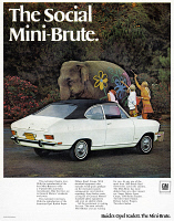 0433911 © Granger - Historical Picture ArchiveAD: MINI-BRUTE, 1968.   American advertisement for the Mini-Brute, manufactured by General Motors. Photograph, 1968.