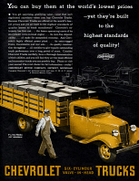 0468587 © Granger - Historical Picture ArchiveAD: CHEVROLET, 1935.   American advertisement for Chevrolet trucks. Illustration, 1935.