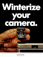 0433922 © Granger - Historical Picture ArchiveAD: CAMERA FLASH, 1968.   American advertisement for the Sylvania Blue Dot Flashcube. Photograph, 1968.