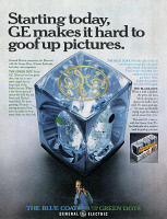 0433968 © Granger - Historical Picture ArchiveAD: FLASH CUBES, 1968.   American advertisement for 'The Blue Coat with the Green Dots' flash cubes manufactured by General Electric. Photograph, 1968.