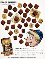 0410108 © Granger - Historical Picture ArchiveAD: KRAFT, 1959.   American advertisement for Kraft Fudgies, 1959.