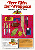 0419870 © Granger - Historical Picture ArchiveAD: BEECH-NUT GUM, 1968.   American advertisement for gifts that can be redeemed with Beech-Nut Gum wrappers. Illustration, 1968.