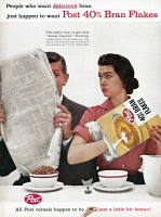 0410080 © Granger - Historical Picture ArchiveAD: POST, 1959.   American advertisement for Post Bran Flakes, 1959.