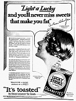 0016560 © Granger - Historical Picture ArchiveLUCKY STRIKE CIGARETTES AD.  American advertisement, 1929.
