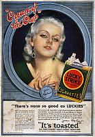 0035365 © Granger - Historical Picture ArchiveLUCKY STRIKE CIGARETTE AD.   Actress Jean Harlow (1911-1937) endorsing Lucky Strike cigarettes: American magazine advertisement, 1932.