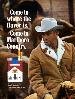 0049390 © Granger - Historical Picture ArchiveMARLBORO CIGARETTE AD.   'Come to where the flavor is. Come to Marlboro Country.' Advertisement for Marlboro cigarettes from an American magazine of 1966.