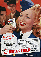 0116288 © Granger - Historical Picture ArchiveCHESTERFIELD CIGARETTE AD.   Actress Carole Landis endorsing Chesterfield cigarettes. American magazine advertisement, 1944.