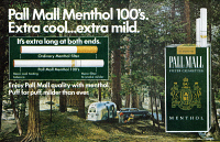 0419900 © Granger - Historical Picture ArchiveAD: PALL MALL, 1968.   American advertisement for Pall Mall Menthol 100's cigarettes. Illustration, 1968.