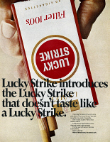 0432366 © Granger - Historical Picture ArchiveAD: CIGARETTES, 1967.   American advertisement for Lucky Strike cigarettes. Photograph, 1967.