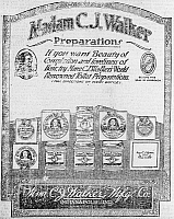 0117005 © Granger - Historical Picture ArchiveHAIR CARE AD, 1920.   American advertisement, 1920, for cosmetic and hair care products of the Madam C.J. Walker Manufacturing Company of Indianapolis, Indiana, founded by Sarah Breedlove Walker (1867-1919).