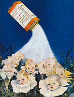 0268605 © Granger - Historical Picture ArchiveAD: JOHNSON BABY POWDER.   American advertisement for Johnson's Toilet and Baby Powder, 1921.