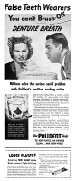 0409893 © Granger - Historical Picture ArchiveAD: POLIDENT, 1947.   American advertisement for denture cleanser Polident, 1947.