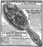 0003004 © Granger - Historical Picture ArchiveELECTRIC BRUSH, 1882.   Dr. Scott's Electric Hair Brush. American advertisement, 1882.