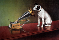 0007828 © Granger - Historical Picture ArchiveRCA VICTOR TRADEMARK.   'His Master's Voice.' Trademark image of RCA Victor, featuring Nipper the dog. American lithograph poster, c1920.