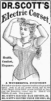 0090496 © Granger - Historical Picture ArchiveELECTRIC CORSET, 1882.   Dr. Scott's Electric Corset. American newspaper advertisement, 1882.