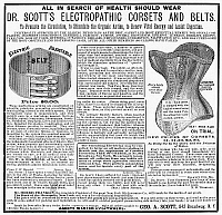 0090497 © Granger - Historical Picture ArchiveELECTRIC CORSET & BELT.   Dr. Scott's Electric Corset and Belt. American newspaper advertisement, 1883.