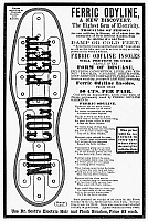 0090500 © Granger - Historical Picture ArchiveELECTRIC INSOLES, 1882.   'Ferric Odyline' electric insoles. American newspaper engraving, 1882.