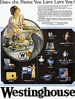 0125038 © Granger - Historical Picture ArchiveWESTINGHOUSE AD, 1925.   American advertisement for Westinghouse electric appliances, 1925.