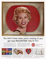 0409996 © Granger - Historical Picture ArchiveAD: RCA, 1961.   American advertisement for RCA Victor Color Television, 1961.