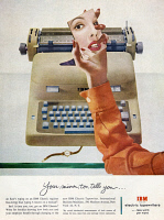 0410024 © Granger - Historical Picture ArchiveAD: TYPEWRITER, 1954.   American advertisement for the IBM electric typewriter, 1954.