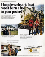 0433256 © Granger - Historical Picture ArchiveAD: ELECTRIC HEAT, 1969.   American advertisement for Flameless Electric Heat, sponsored by the Edison Electric Institute. Photograph, 1969.