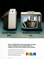 0433923 © Granger - Historical Picture ArchiveAD: RCA, 1968.   American advertisement for RCA portable television sets. Photograph, 1968.