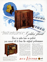 0468566 © Granger - Historical Picture ArchiveAD: RCA VICTOR, 1948.   American advertisement for RCA Victor radios. Illustration, 1948.