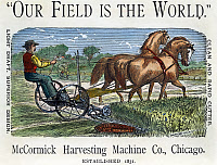 0009340 © Granger - Historical Picture ArchiveMcCORMICK REAPER, c1875.   McCormick Harvesting Machine Company advertisement, from an American agricultural magazine.