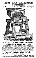 0323674 © Granger - Historical Picture ArchiveAD: VEGETABLE CUTTER, 1873.   American advertisement for a root and vegetable cutter, 1873.