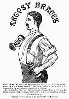 0090761 © Granger - Historical Picture ArchiveADVERTISEMENT: SUSPENDERS.   English newspaper advertisement for Argosy Braces, 1883.